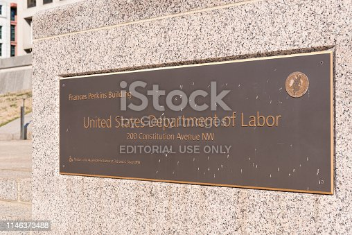 Sign on the exterior of The Francis Perkins building at 200 Constitution Avenue NW in Washington DC, USA.  Building is used by United States Department of Labor
