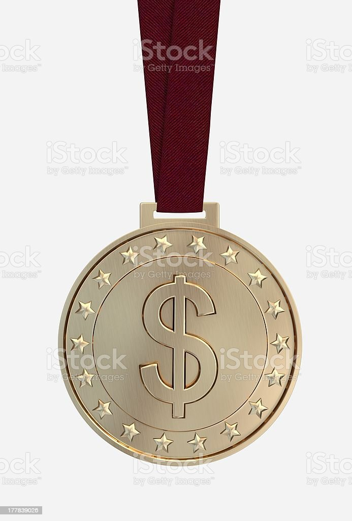 United States dollar sing on gold medal royalty-free stock photo