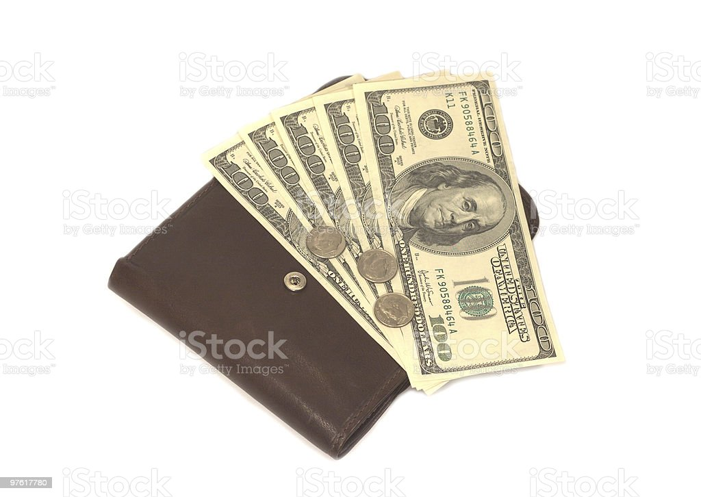 United states dollars on wallet with coins royalty-free stock photo