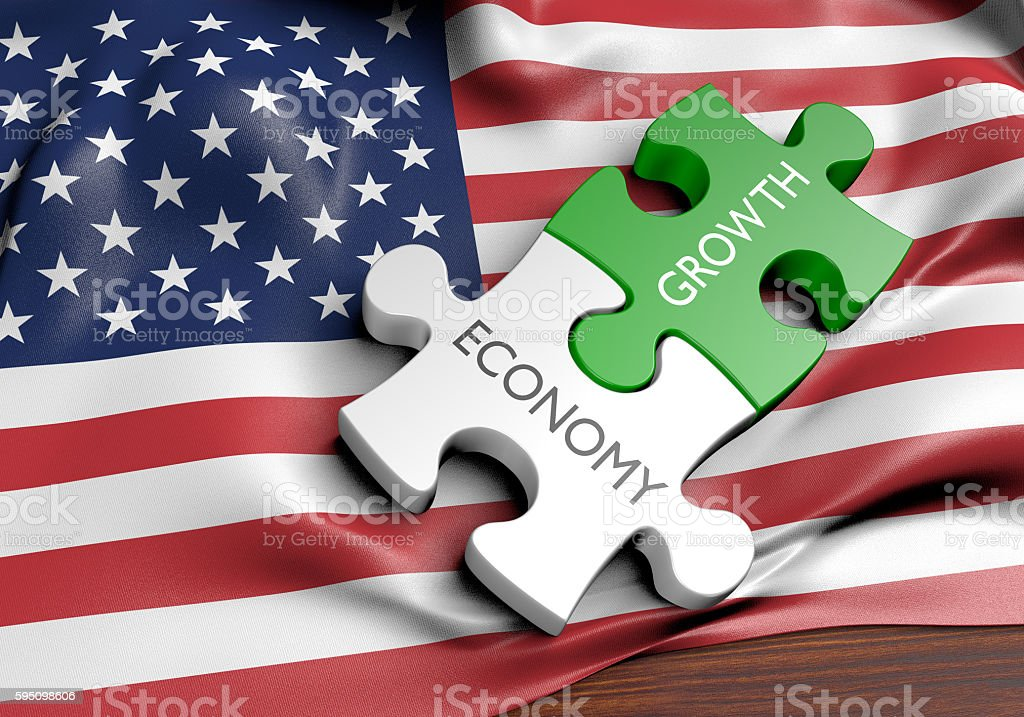 United States economy and financial market growth concept, 3D rendering stock photo