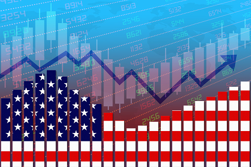 United States flag on bar chart concept of economic recovery with stock market down and up. Concept of business improving after crisis such as Covid-19 or other catastrophe as economy and businesses reopen again.
