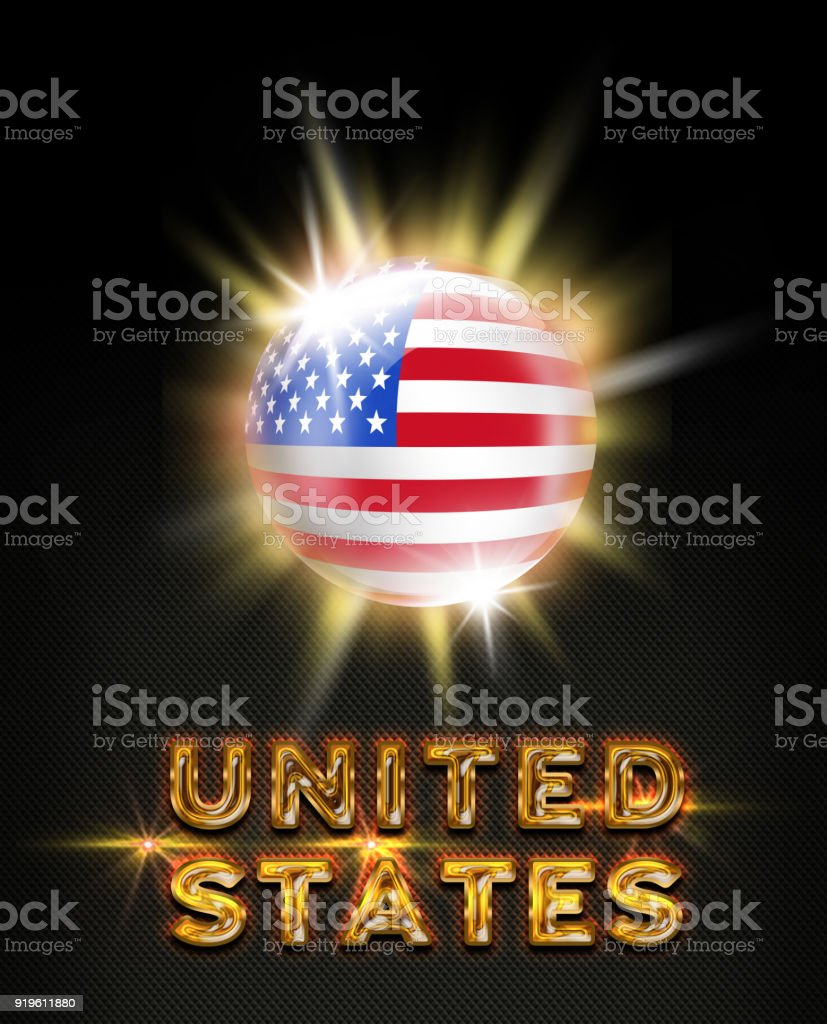 United States exploding button with american flag and name on black stock photo