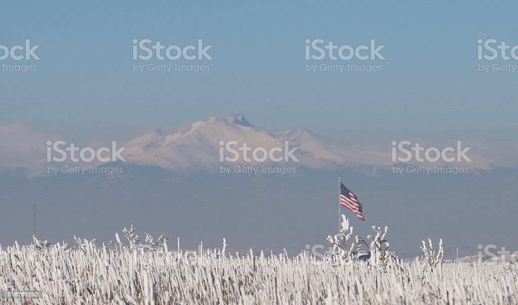 United States Flag against a Snow-covered Mountain Background stock photo