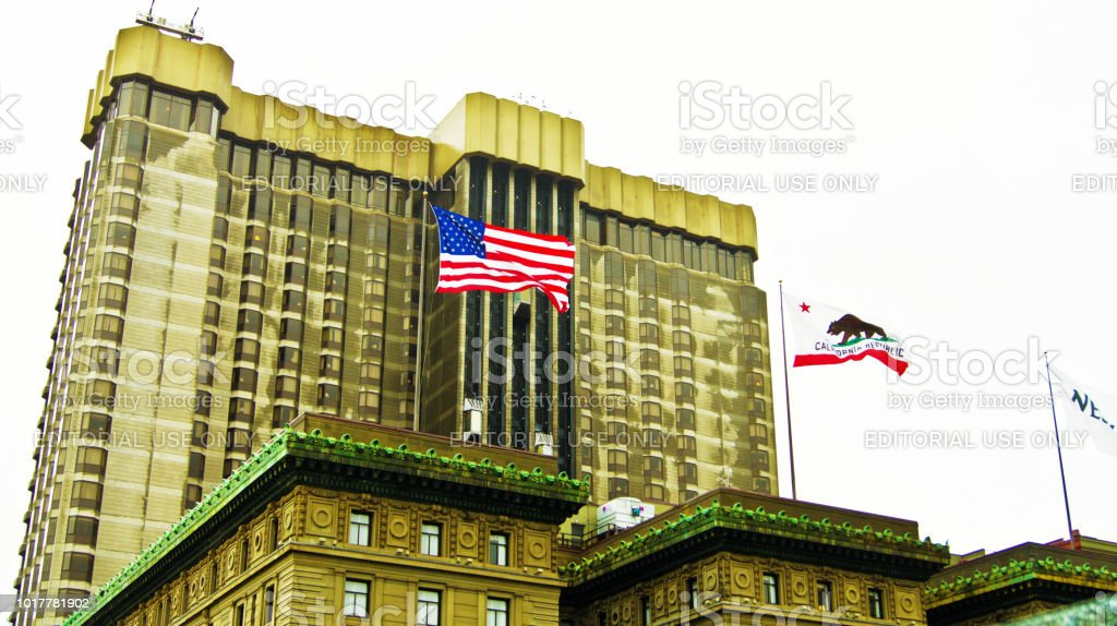 National Flag Of The United States Of America And The City Of San...