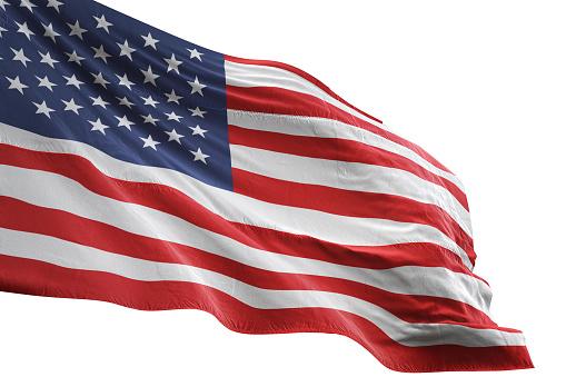 United States flag close-up waving isolated white background realistic 3d illustration