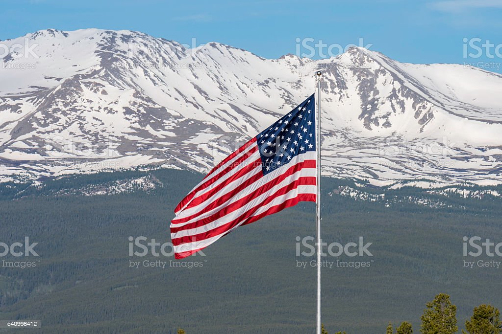 United States Flag in front of Mt. Massive stock photo