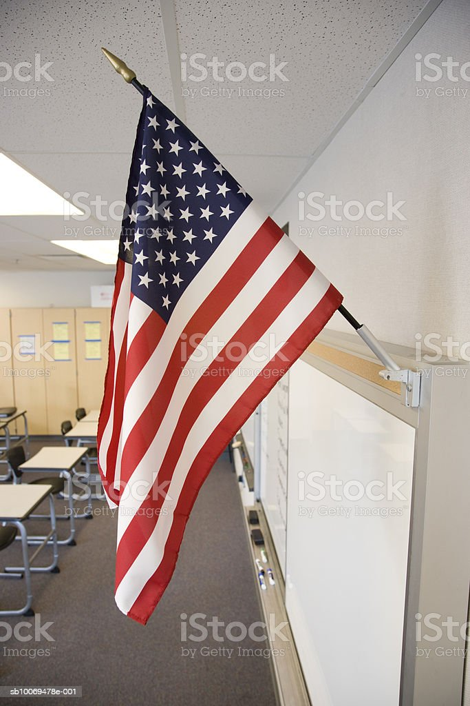 United States flag in high school classroom royalty-free stock photo