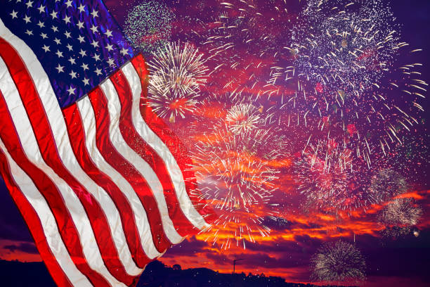 United States Flag, lots of fire works against the darkened sky. United States Flag, lots of fire works against the darkened sky. day 4 stock pictures, royalty-free photos & images