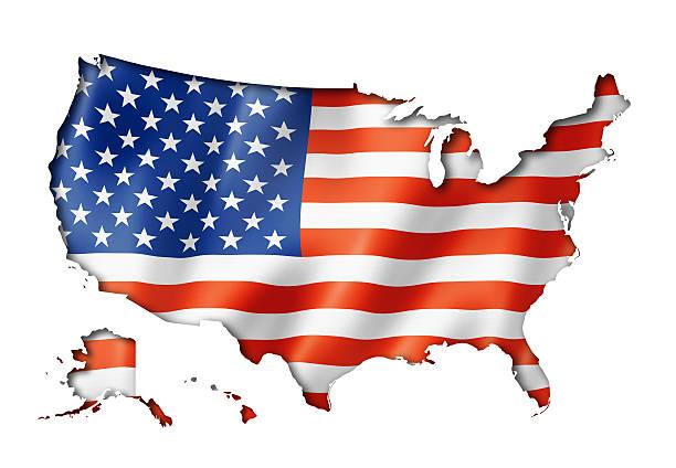 Drapeau des États-Unis carte - Photo