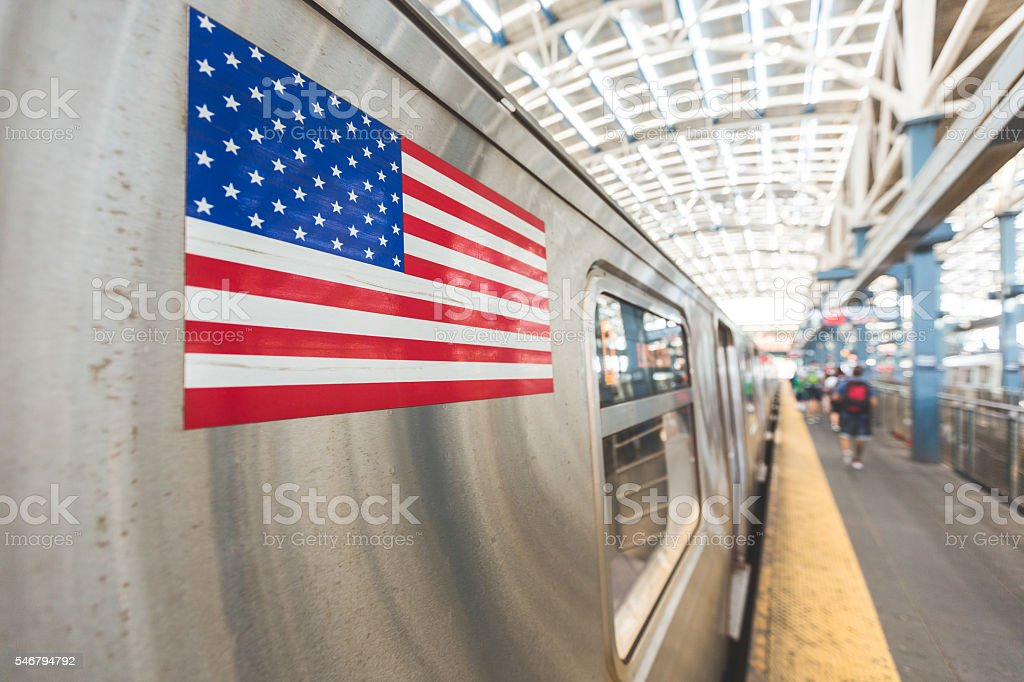 United States flag on a subway train stock photo