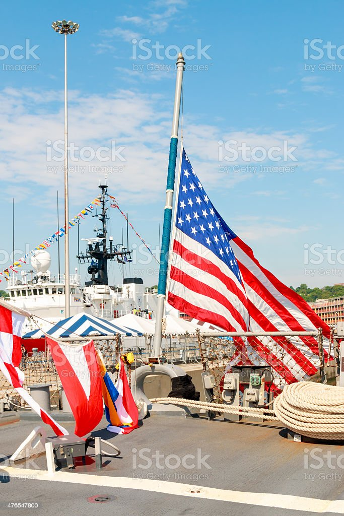 United States Flag on board Navy Destroyer stock photo