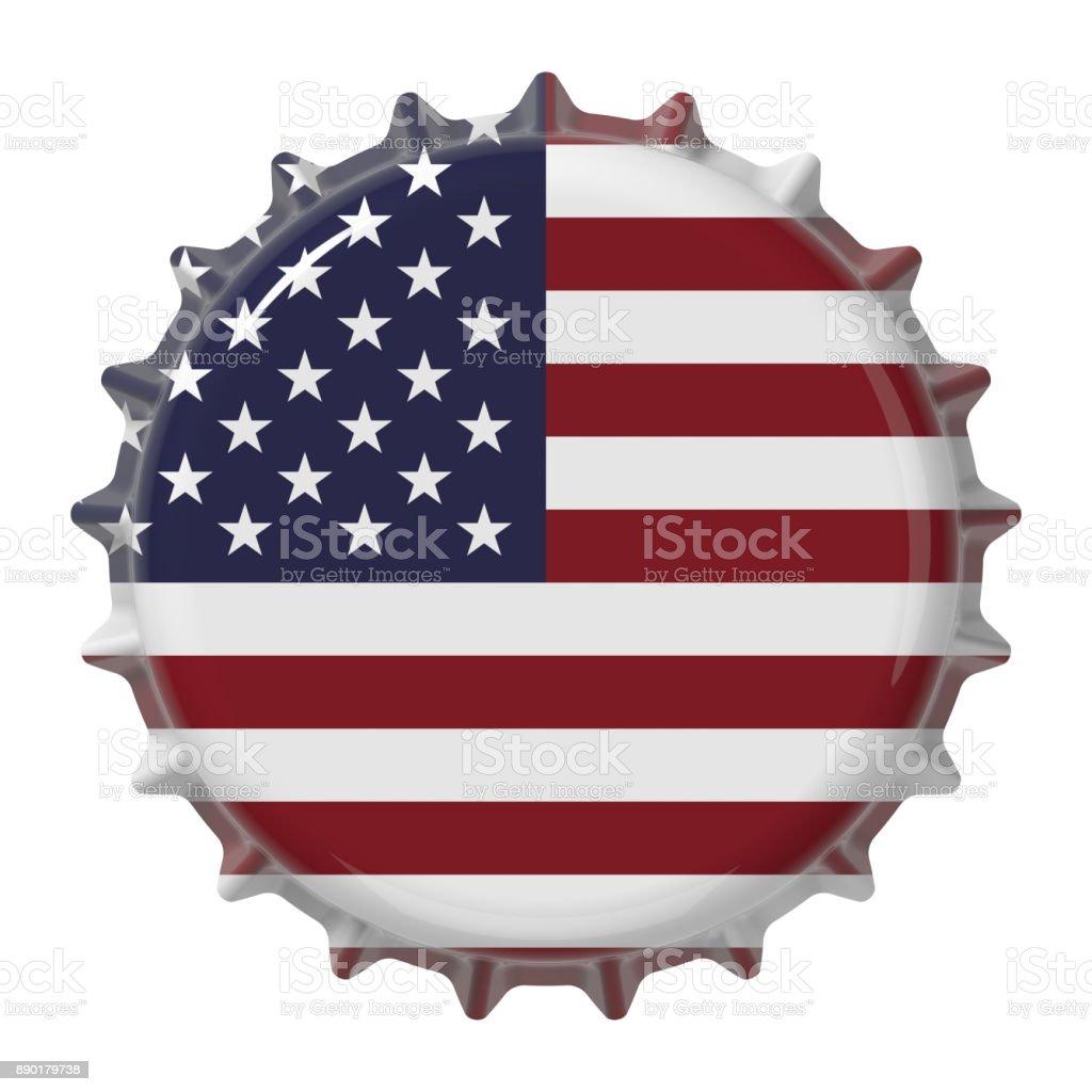 United States flag on bottle cap. 3D rendering stock photo