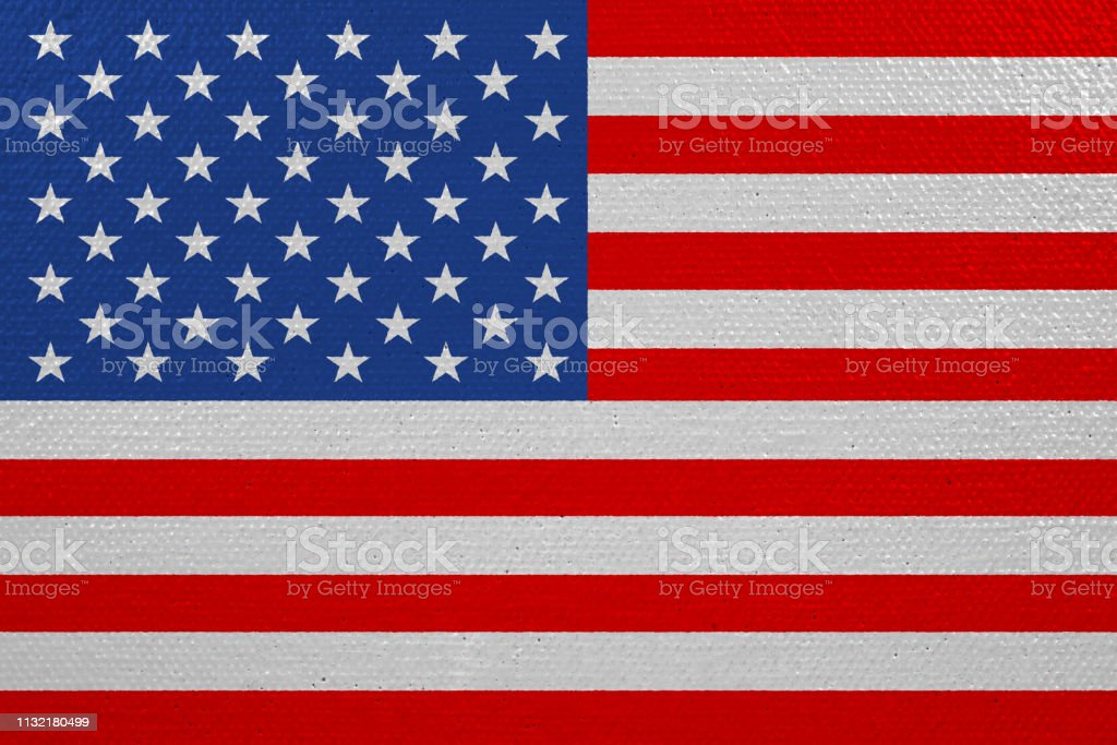 United States of America flag on canvas. Patriotic background....
