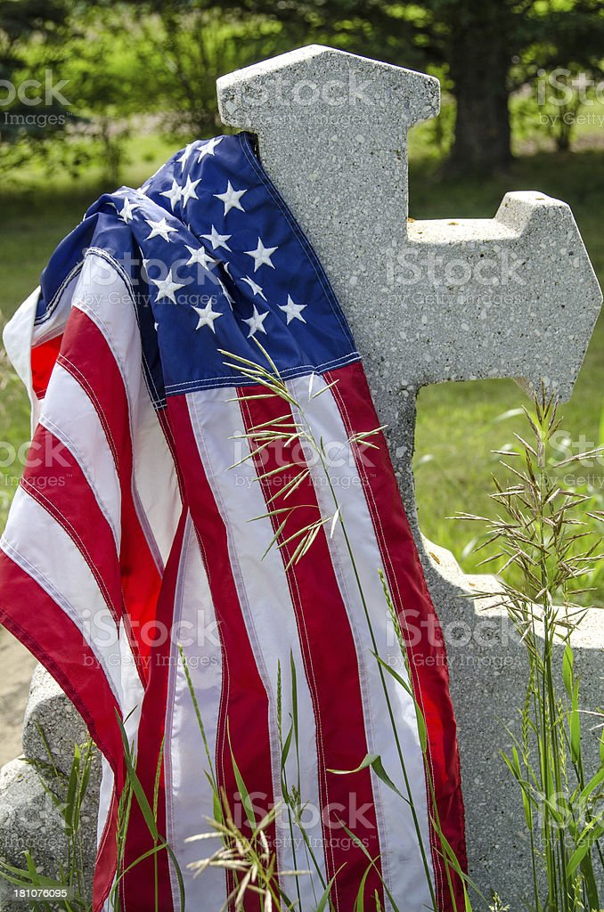 United States Flag on Tombstone royalty-free stock photo