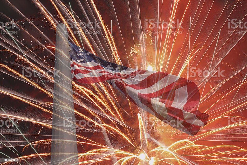 United States flag over fireworks stock photo