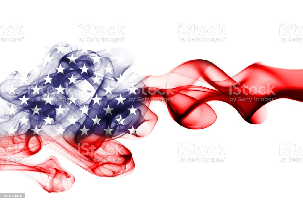 United States flag smoke stock photo