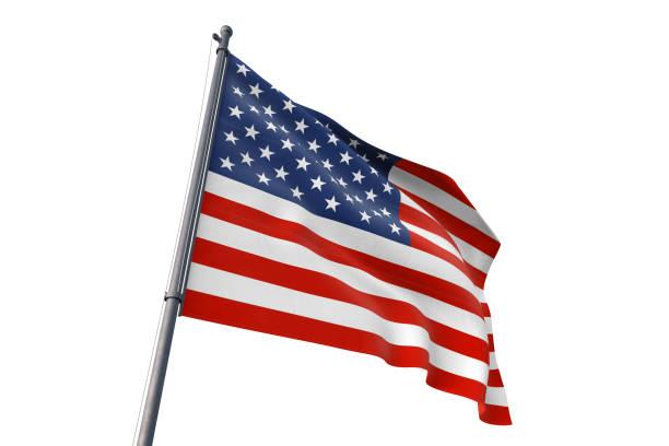 United States flag waving isolated white background United States national flag waving isolated white background flagpole stock pictures, royalty-free photos & images