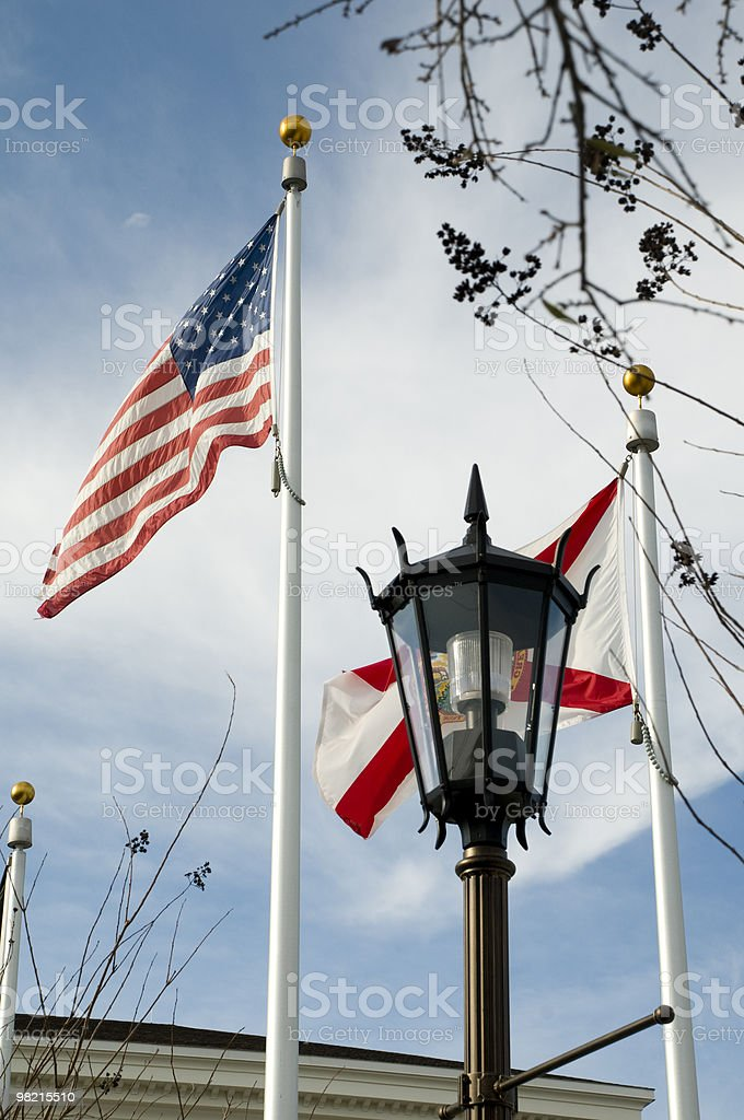 United States Flag with Street Light royalty-free stock photo