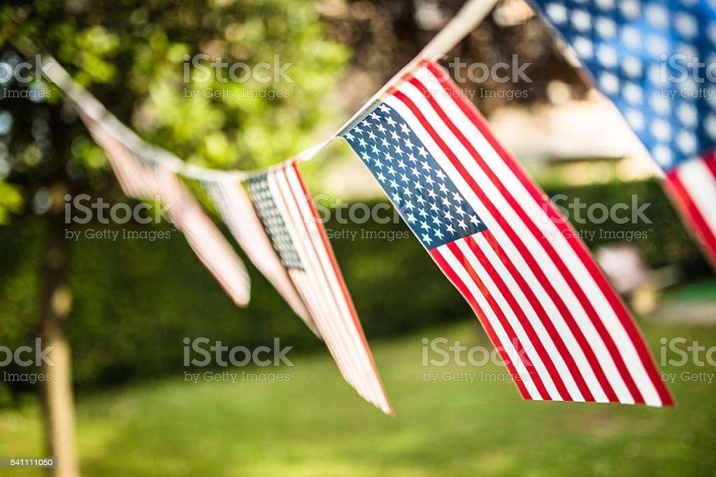 United States flags pennant on the courtyard stock photo
