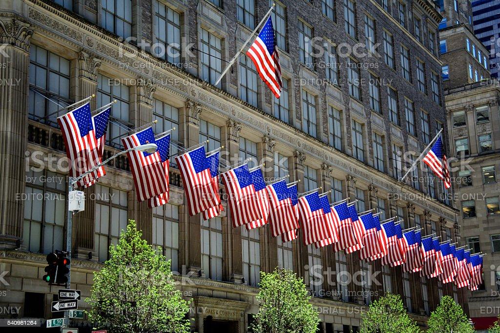 United States Flags, Saks & Co., Manhattan, New York City stock photo