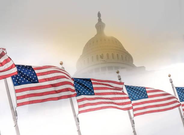 united states flags with capitol building. - chapiteau colonne architecturale photos et images de collection