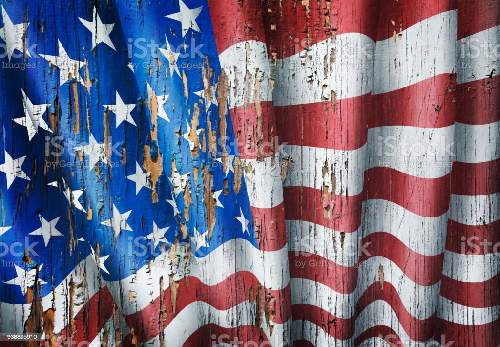 United States grunge american flag on wooden old door stock photo