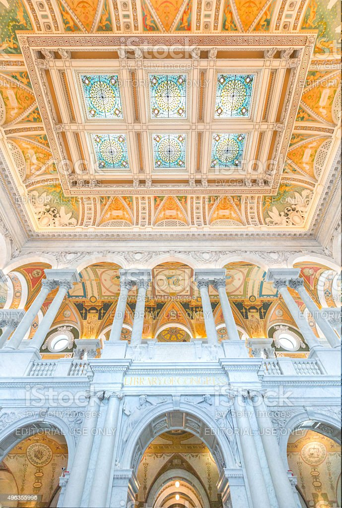 United States Library of Congress Jefferson Building Great Hall stock photo