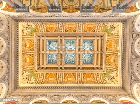 Ceiling detail of the U.S. Library of Congress Jefferson Building Great Hall on Capitol Hill in Washington, DC.