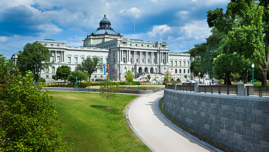 The Library of Congress in Washington with the walkway to the U.S. Capitol's Visitor Center in the foreground.