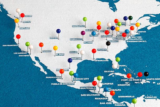 des principales villes des états-unis carte - épingler photos et images de collection
