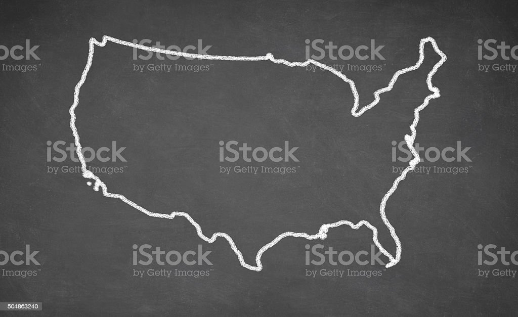 United States map drawn on chalkboard stock photo