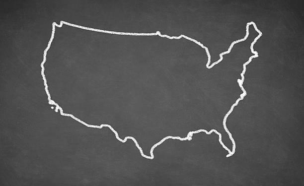 United States map drawn on chalkboard stock photo