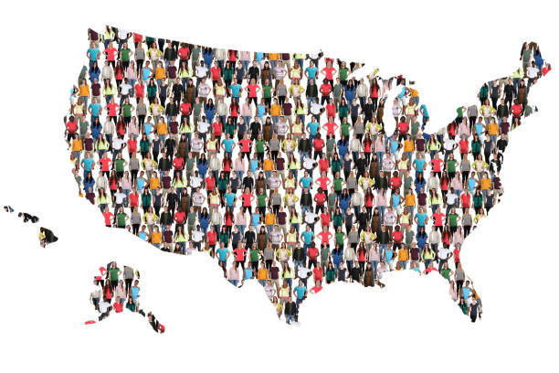 USA United States map multicultural group of people integration immigration stock photo