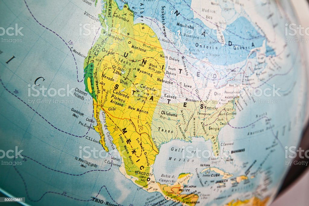 United States map on a globe stock photo