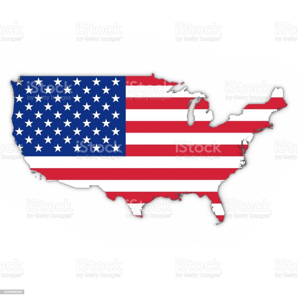 United States Map Outline With American Flag On White With Shadows ...