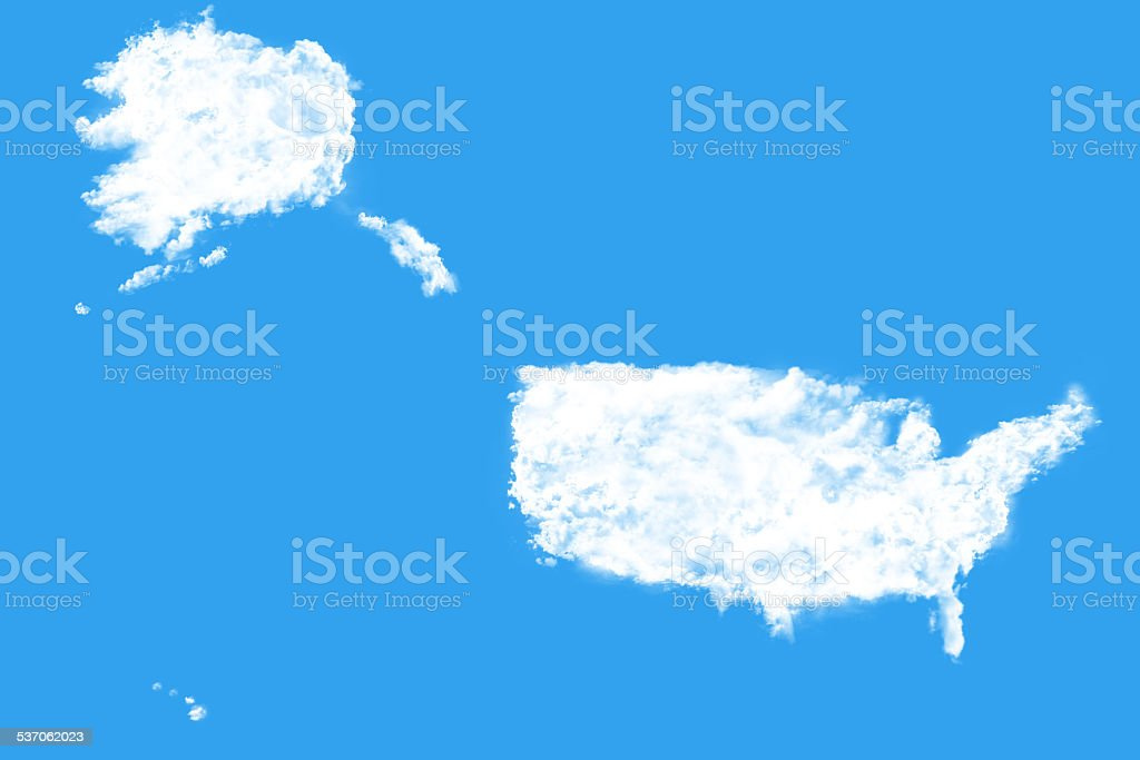 United States Map Shape Clouds Stock Photo More Pictures Of 2015 - Us-cloud-map