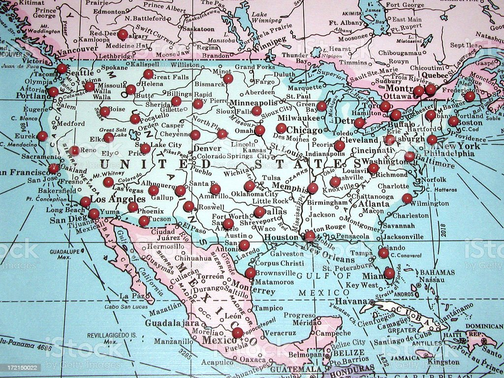 united states map with pins stock photo istock