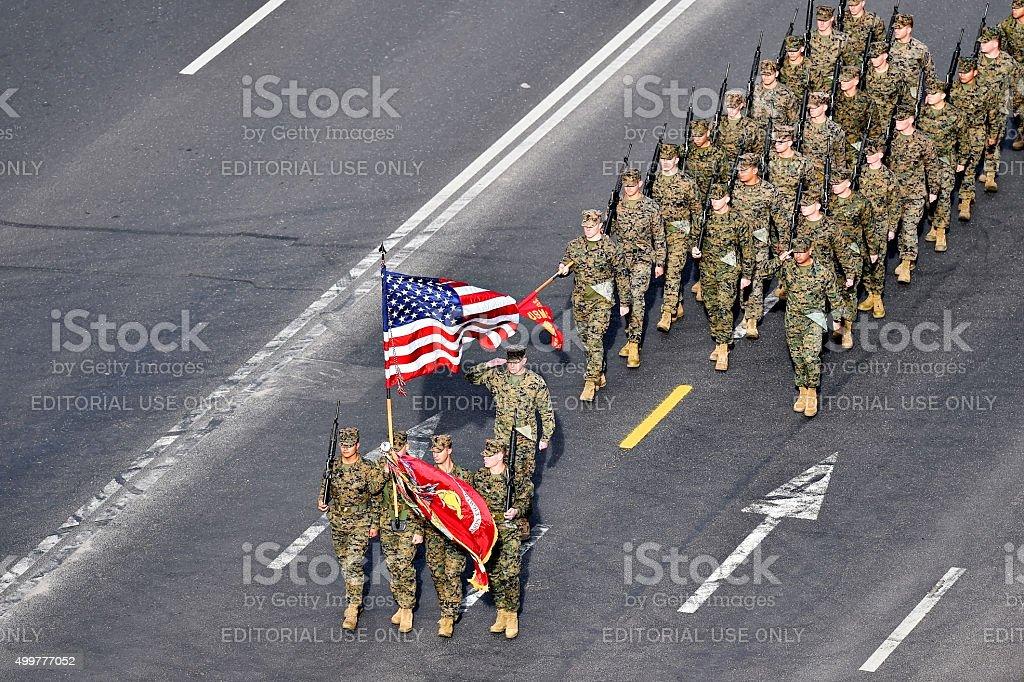 United States marines marching at military parade stock photo