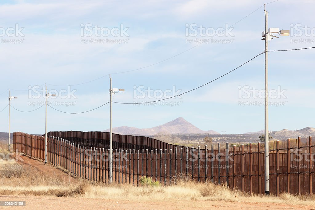 United States Mexico Border Fence Immigration Barrier stock photo