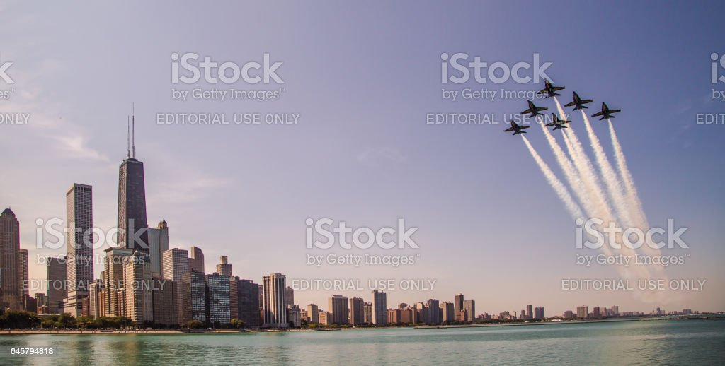 United States Navy Blue Angels over Chicago stock photo