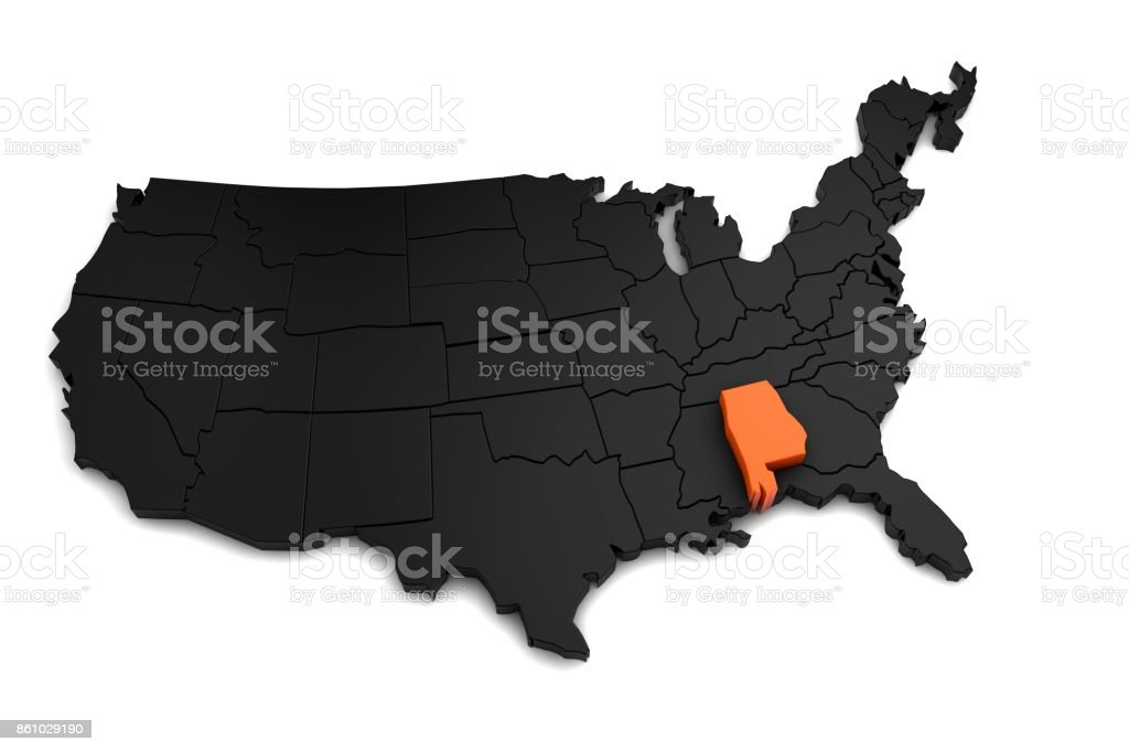 United States of America, 3d black map, with Alabama state highlighted in orange. 3d render stock photo