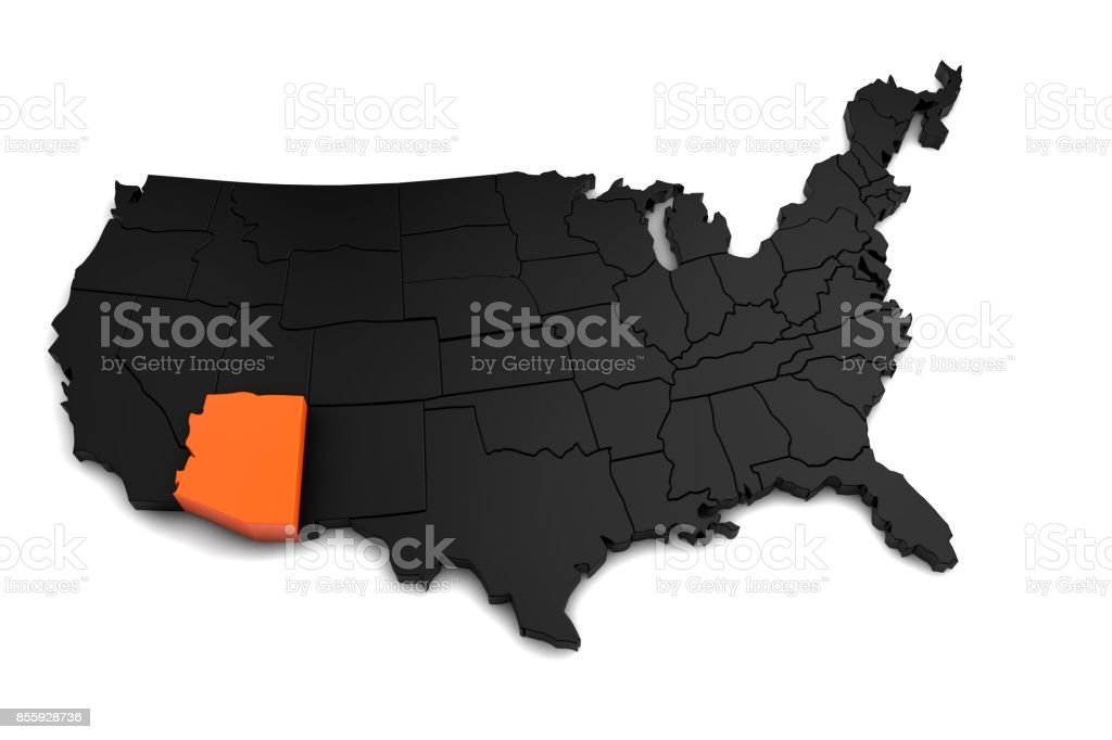 United States of America, 3d black map, with Arizona state highlighted in orange. 3d render stock photo