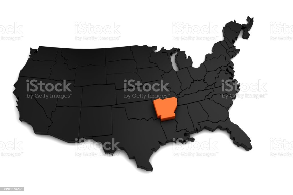 United States of America, 3d black map, with Arkansas state highlighted in orange. 3d render stock photo