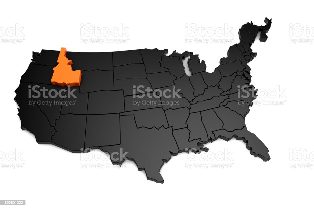 United States of America, 3d black map, with Idaho state highlighted in orange. 3d render stock photo