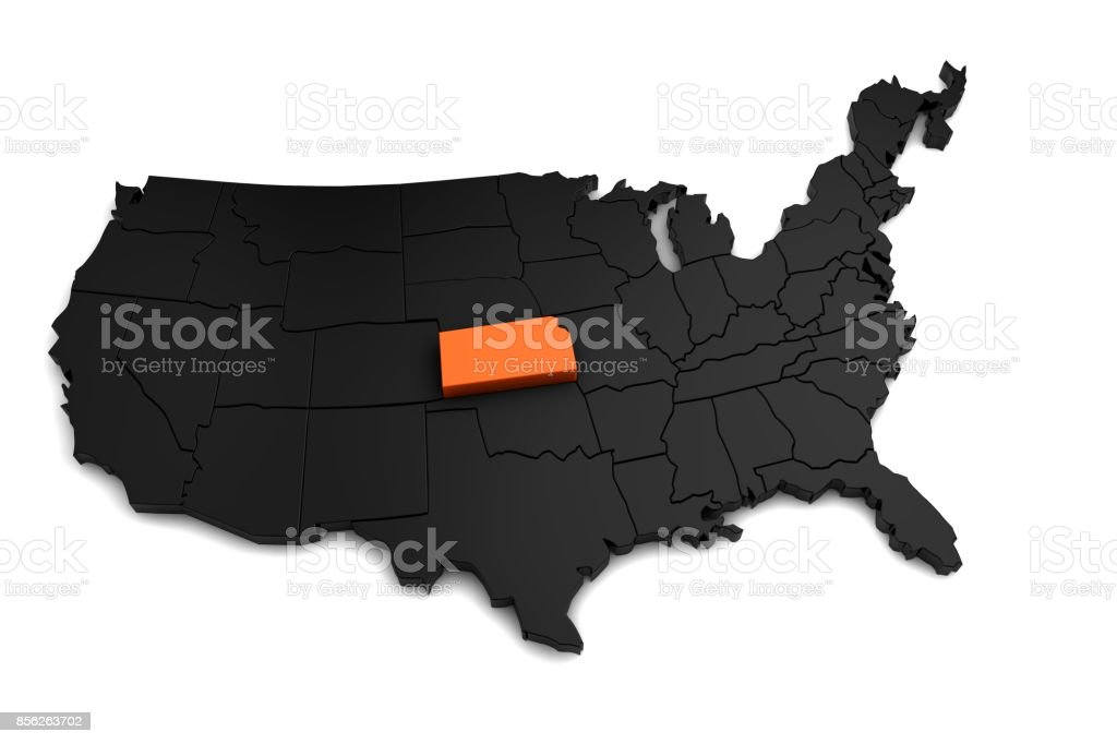 United States Of America 3d Black Map With Kansas State Highlighted