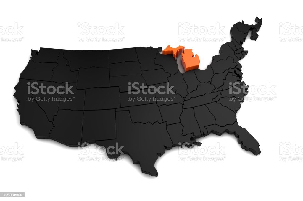 United States of America, 3d black map, with Michigan state highlighted in orange. 3d render stock photo