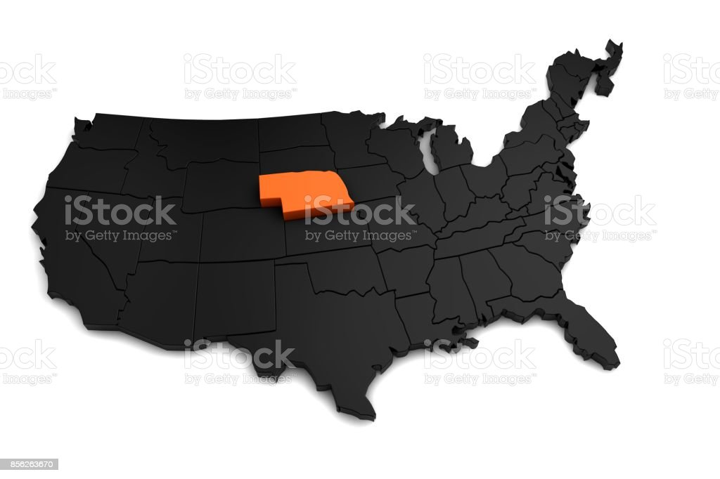 United States of America, 3d black map, with Nebraska state highlighted in orange. 3d render stock photo