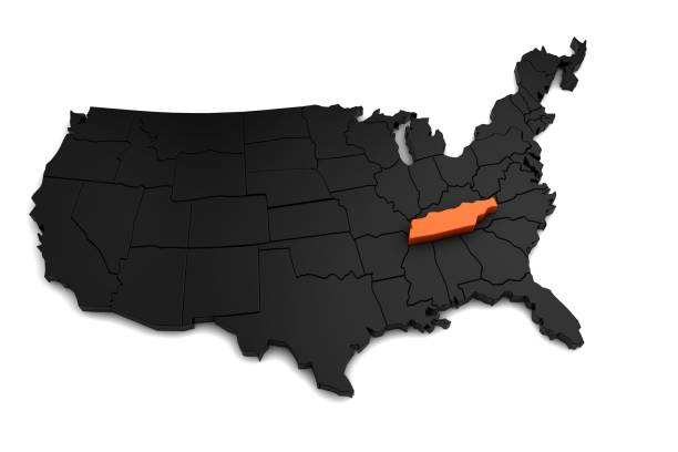 united states of america, 3d black map, with tennessee state highlighted in orange. 3d render - tennessee map stock photos and pictures