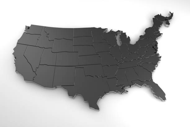 United states of america 3d metal map isolated on white 3d render stock photo