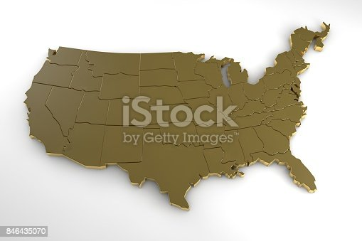 186827106istockphoto United states of america 3d metal map isolated on white 3d render 846435070